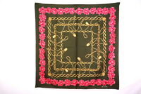 CHANEL 87cm Large Format Scarf 100% Silk Coco Mark Chain Camellia khaki 2691k