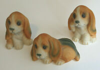 Homco 1407 Set of 3 Bassett Hound Puppies Porcelain Made in Taiwan Vintage