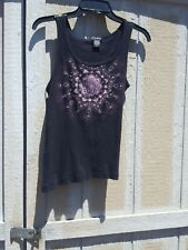 F.A.N.G. Tank Top Size XL Black With Shimmering Beads Preowned