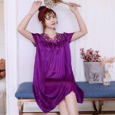 Women's Silk Satin Long Sleepwear Pajamas Sexy Lace Nightgown Home Nightwear New