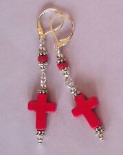 earring handcrafted U Choose carved Howlite Cross dangle