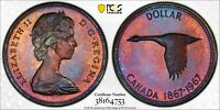 1967 CANADA GOOSE SILVER DOLLAR PCGS PL65 UNC DEEP MONSTER COLOR TONED BU (DR)