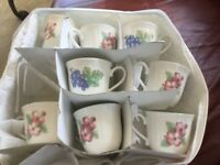 Noritake Epoch Market Day Cups and Saucers Lot Of 8   6 Dogwood & 2 Grape