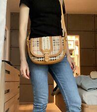 Authentic Burberry Haymarket Check Orange Leather Trim Crossbody Bag