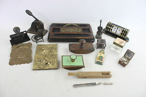 15 x Antique / Vintage Desk Accessories Inc Inkwells, Desk Tidy, Blotters Etc