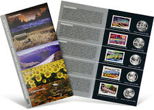 USPS State Quarters and Stamps Portfolio (CA, MN, OR, KS, WV)