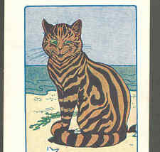 """RARE LOUIS WAIN.! """"YOU SAUCY PUSS"""" WILDLY STRIPED CAT AT BEACH,SEASHORE,POSTCARD"""