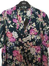 M&S Marks Women Rosie Autograph Green Mix Floral Pyjama Top Loungewear BNWT S16