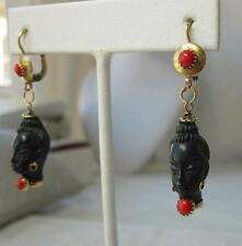 Blackamoor Earrings 18K Gold Red Coral Corletto Ebony Azabache African Nubian