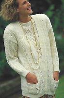 """Ladies Cardigan Sweater Knitting Pattern Lace detail Twin Set DK 30-40"""" 630"""