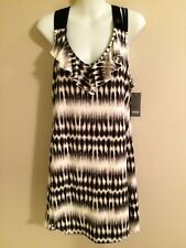 Women's a.n.a Black & White Sleeveless Swimsuit Cover-Up     Size Large      NWT