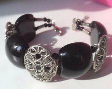 Ladies Jewelry Tibetan Silver Bracelet Black Bead Bangle Woman Bracelet
