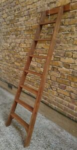 (A)VINTAGE 7 TREAD LIBRARY/SHOP STYLE LADDER - SHELLAC SEALED & WAXED