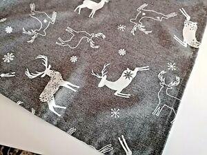 Weihnachts- Tischdecke Hirsche Rentiere Grau  -  Tafeltuch 110x140cm