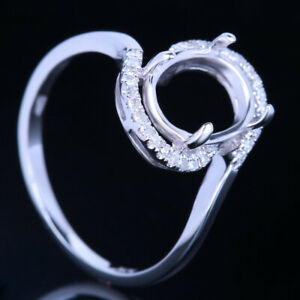 Sterling Silver 925 7x9MM Oval Semi Mount Engagement Wedding Diamond Fine Ring