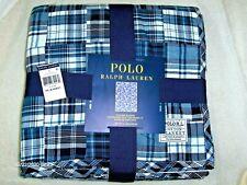 Polo Ralph Lauren King Bed Blanket Cotton Madras Plaid Patchwork