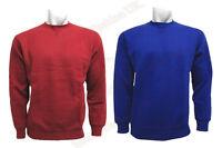 New Men's Crew Neck Top Fleece Royal Blue Burgundy Sweatshirt Jumper S - 3XL