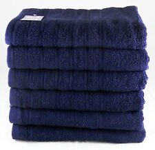 Navy Blue Face Towels Wash Cloths Flannels Egyptian Cotton 525 GSM Pack of 12