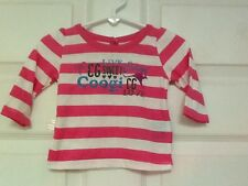 COOGI baby girl's shirt size 3-6 months pink white stripes  115