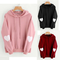 Women's Long Sleeve Casual Hoodie Sweatshirt Jumper Hooded Pullover Tops Blouse