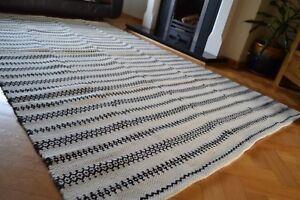 Large Wool Kilim Rug Reversible Diamonds Stripes 150x240cm Black White Cream NEW