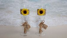Set of 2 Sunflower Toasting Glasses- Mr Mrs Champagne Glass Wedding Rustic Gift