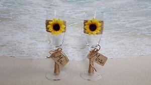 Set of 2 Sunflower Toasting Glasses- Mr Mrs Champagne Glass Wedding Rustic Gift