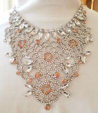 Betsey Johnson Elegant Filigree Pave Clear Orange Peach Crystal Bib Necklace