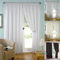 "Pair of Ready Made Lined Voile Pencil Pleat 3"" Tape Top Curtains.Various Colours"