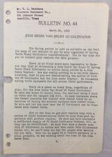 1939 Antique John Deere Bulletin / Jd Van Brunt Cc Cultivator