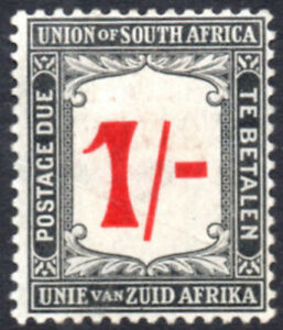 South Africa Postage Due 1914-22 1s red & black, SG.D7, mint, cat.£75