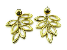 18k Yellow Gold Unique Marquise Shaped Ladies Drop Earrings ~ 22.7g