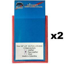 """2 Red 2-Pocket FLAT CAR INSURANCE REGISTRATION HOLDER 6x4.6""""Embossed FauxLeather"""
