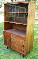 Mid-Century Modern Hutch China Cabinet Bookshelf