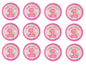 1st Birthday Pink Decoration Cup Cake Edible Toppers Icing Rice Paper CT122P Vex