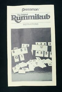 Rummikub Instructions Pressman 1980