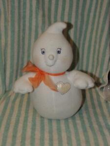 "Hallmark Glimmer the Ghost Stuffed Plush Halloween Holiday Orange Heart 13"""