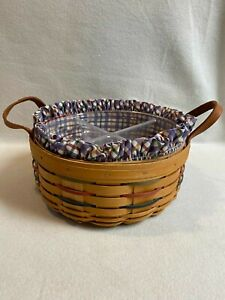 Longaberger (2001) Round Darning Basket with Leather Handles