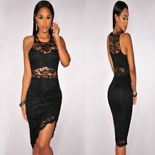 Sz 8 10 Sleeveless Red Lace Bodycon Prom Cocktail Party Slim Fit Mini Dress