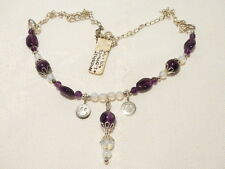 "AMETHYST AND OPALITE GEMSTONE NECKLACE, ADJUSTABLE TO 45CM ""NEW"" AUZ MADE FN2"