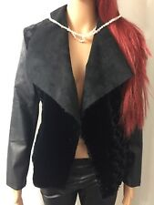 Vegan Leather Jacket Women's Fur Open Front Cardigan Size Small