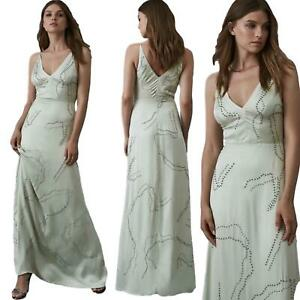 Reiss Babette Mint Embellished Cupro Satin Look Occasion Maxi Dress RRP £350 8
