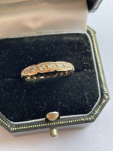 Antique 9ct Gold And White Clear Stone Eternity Ring Size N/O