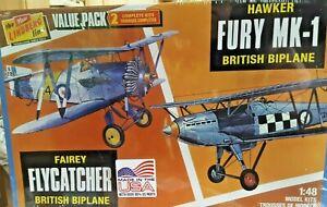 LINDBURG 2 MODEL VALUE PACK - FAIREY FLYCATCHER & HAWKER FURY MK-1 BRIT BIPLANES