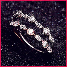 18K ROSE GOLD GF LADY GIRLS MARQUISE CRYSTAL STACKABLE FINGER TOE THIN BAND RING