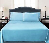 DEEP POCKET 4 PIECE QUEEN BED SHEET 1800 COUNT SET SKY BLUE COLOR BRAND NEW