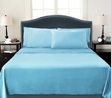 DEEP POCKET 4 PIECE QUEEN BED SHEET 1800 COUNT SET SKY BLUE COLOR BRAND NEW