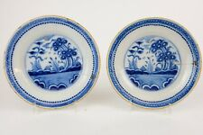Pair of early Dutch Delft XVIII Blue and white plates 23 cm, yellow rims.