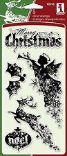 Inkadinkado Clear Stamps - Christmas Silhouettes - Xmas, Reindeer, Angel, Noel