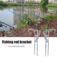 Portable Fishing Rod Bracket Dual Spring Fishing Pole Metal Stand Accessory
